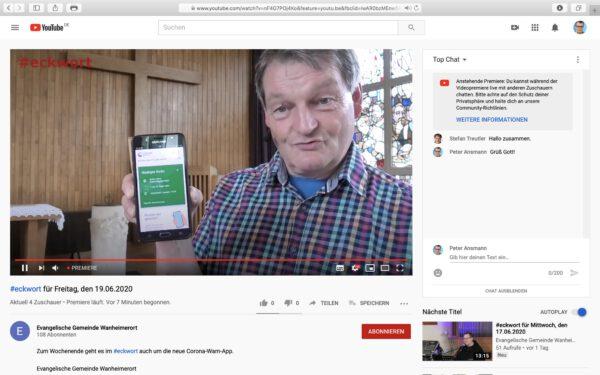 Pfarrer Jürgen Muthmann über die Corona-Warn-App; Screenshot YouTube